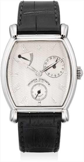 A fine and rare platinum limited edition tonneau-shaped wristwatch with power reserve and date, made to commemorate the 240th anniversary of Vacheron Constantin