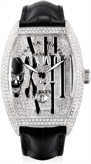 A fine and rare white gold and diamond-set tonneau-shaped wristwatch with sweep centre seconds and date