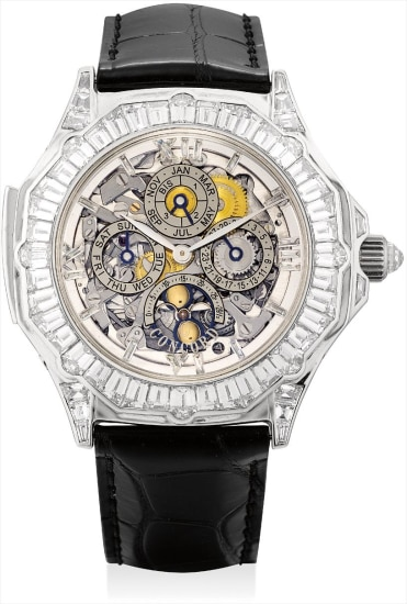 An extremely fine, important and unique platinum and diamond-set skeletonised perpetual calendar minute repeating tourbillon wristwatch with thermometer, leap year indicator and moon phases