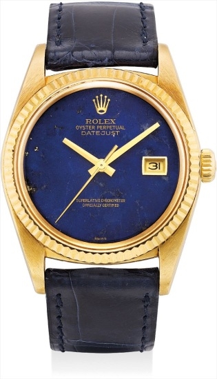 A rare yellow gold wristwatch with sweep centre seconds, date and lapis lazuli hardstone dial
