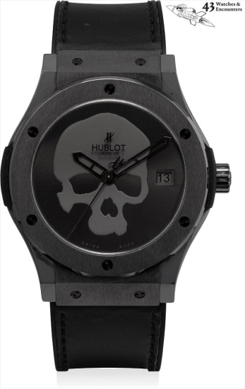 Laurent Picciotto Collection: A fine and rare black ceramic limited edition wristwatch with sweep centre seconds, date, dial depicting a skull, original study of the graphics of the skull used, exclusively for the Saint Honoré Hublot boutique, numbered 0 of a limited edition of 100 pieces