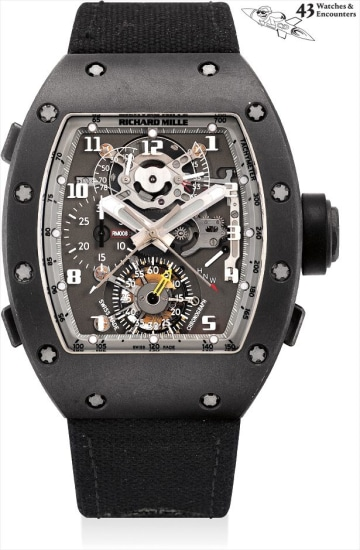 Laurent Picciotto Collection: An important and unique DLC-treated titanium tonneau-shaped split seconds chronograph tourbillon wristwatch with guitar, golf balls, framed drawiing of the present movement, original certificate and fitted presentation box