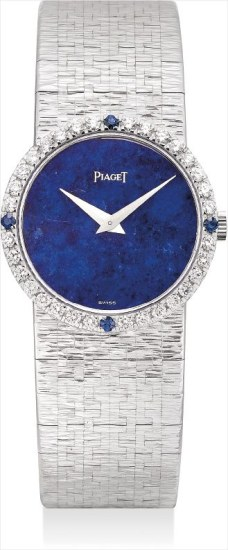 A lady's fine white gold, diamond and sapphire-set bracelet watch with lapis lazuli dial