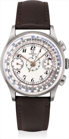 A fine stainless steel chronograph wristwatch with multi-scale enamel dial