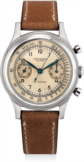 A fine and rare stainless steel chronograph wristwatch with sweep centre seconds, two-tone dial and stepped bezel