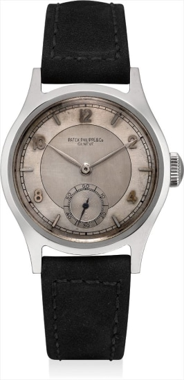 A fine and rare stainless steel wristwatch with two-tone dial