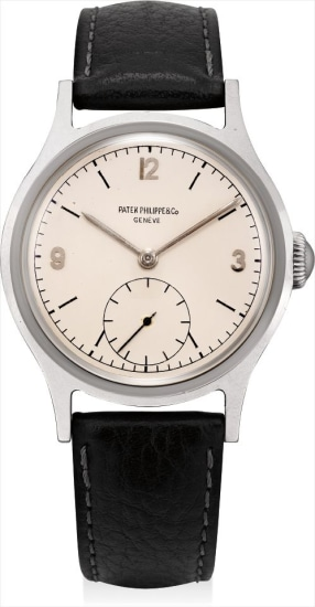 A rare and very attractive stainless steel wristwatch with hard enamel dial