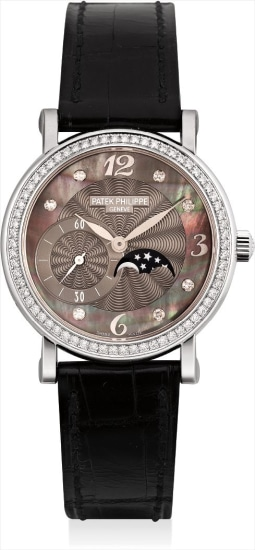 A lady's white gold and diamond-set wristwatch with mother-of-pearl dial and moonphases