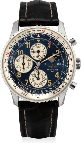 A stainless steel limited edition perpetual calendar chronograph wristwatch with moon phases