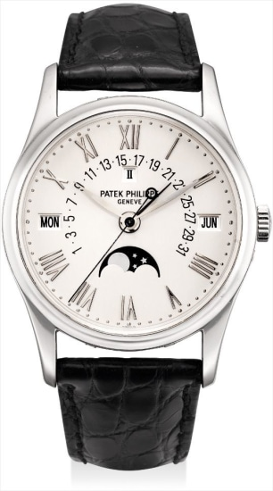 A fine and rare platinum perpetual calendar wristwatch with sweep centre seconds, retrograde date, moon phases, leap year indicator, Roman numerals, original certificate, additional case back and fitted presentation box