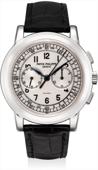 A fine, rare and large white gold chronograph wristwatch, retailed by Tiffany & Co.