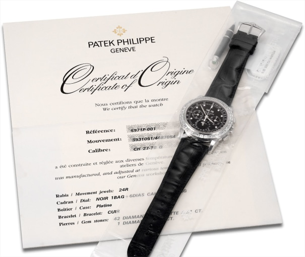 A fine and rare platinum and diamond-set perpetual calendar chronograph wristwatch with moon phases, 24 hours, leap year indicator, original certificate, additional case back and presentation box, factory sealed