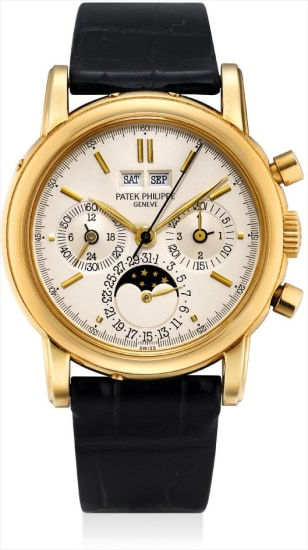A fine and very rare yellow gold perpetual calendar chronograph wristwatch with moon phases, 24 hours, leap year indicator, sapphire crystal case back, original certificate and additional case back