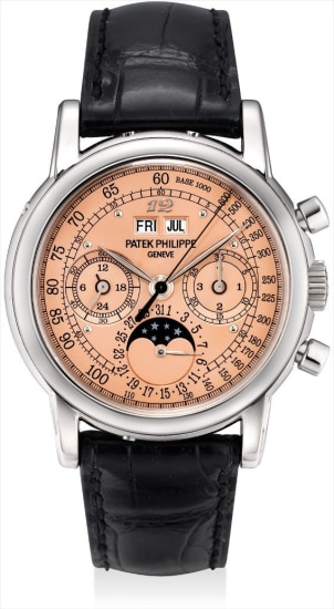 An extremely fine and important white gold perpetual calendar chronograph wristwatch with moon phases, 24 hours, leap year indicator, special salmon tachymetre dial, Breguet numeral at 12 o'clock, original certificate, additional case back and fitted presentation box, formerly in the collection of Eric Clapton, CBE