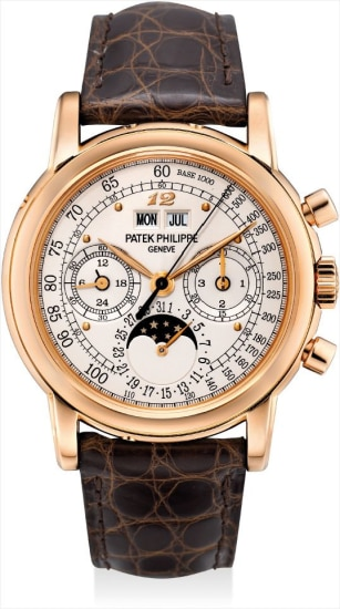 An extremely fine and important pink gold perpetual calendar chronograph wristwatch with moon phases, 24 hours, leap year indicator, special silvered tachymetre dial, Breguet numeral at 12 o'clock, original certificate, additional case back and fitted presentation box, formerly in the collection of Eric Clapton, CBE