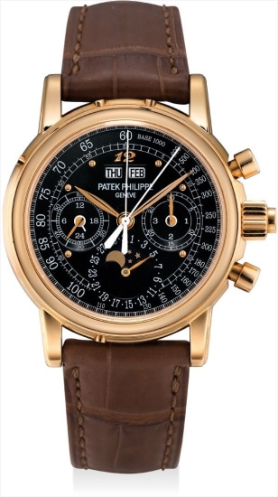 An extremely fine and important pink gold perpetual calendar split seconds chronograph wristwatch with moon phases, 24 hours, leap year indicator, special black tachymetre dial, Breguet numeral at 12 o'clock, original certificate, additional case back and fitted presentation box, formerly in the collection of Eric Clapton, CBE