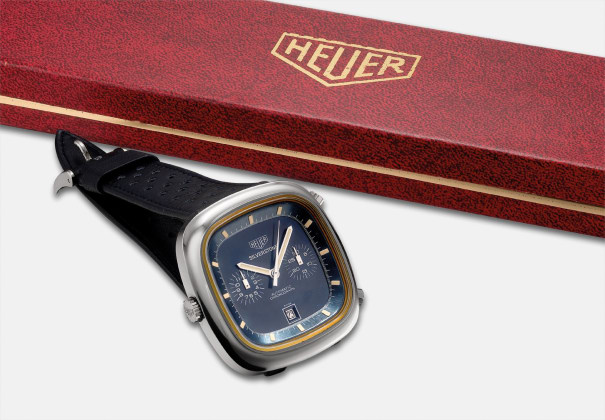 A rare stainless steel chronograph wristwatch with date, sales tag and fitted presentation box
