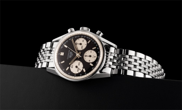 A very rare stainless steel chronograph wristwatch with Gay Frères Heuer bracelet