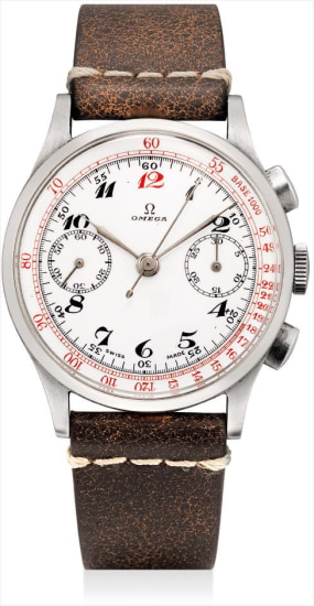 A rare stainless steel chronograph wristwatch with enamel dial and Breguet numerals
