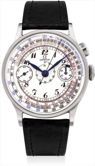 A rare and large stainless steel single-button chronograph with multi-scale enamel dial