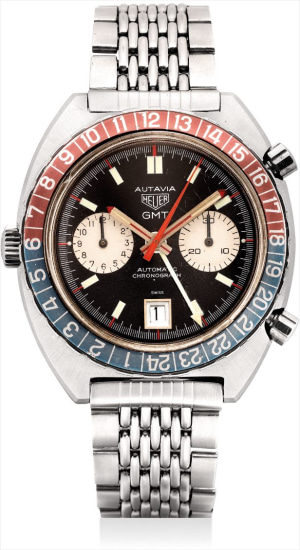 A fine stainless steel chronograph dual time wristwatch with date, left-handed crown and Gay Frères bracelet