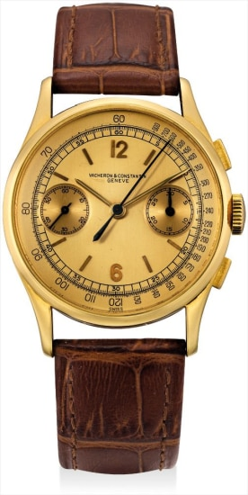 A very rare yellow gold chronograph wristwatch with champagne dial