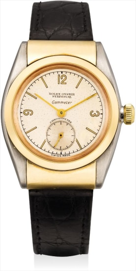 A fine and rare yellow gold and stainless steel wristwatch with hooded lugs, retailed by Gammeter