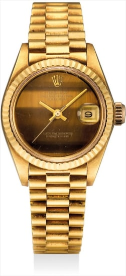 A lady's fine and rare yellow gold wristwatch with sweep centre seconds, date, tiger's eye dial and bracelet