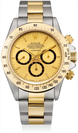 A  fine and rare yellow gold and stainless steel chronograph wristwatch with suspended logo, champagne dial, bracelet and fitted presentation box