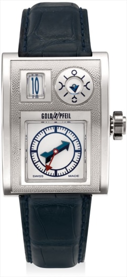 A very fine and extremely rare white gold rectangular jump hour wristwatch with moon phases, manufactured in conjunction with Goldpfeil