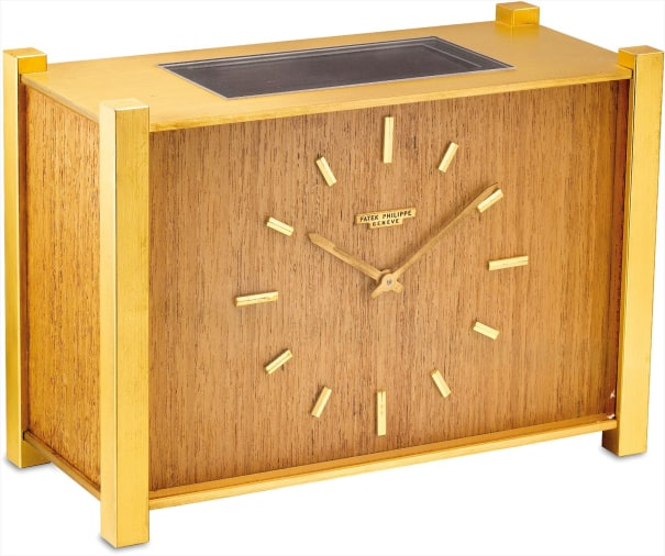 A fine and rare brass and wood rectangular solar clock with pocket watch movement