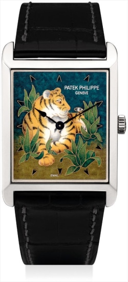A very fine and unique platinum rectangular wristwatch with cloisonné enamel dial and original certificate