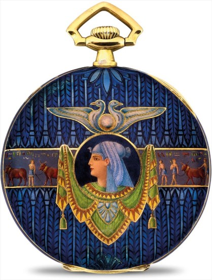 A highly exceptional, attractive and unique yellow gold and polychrome enamel openface watch depicting Egyptian deity Geb