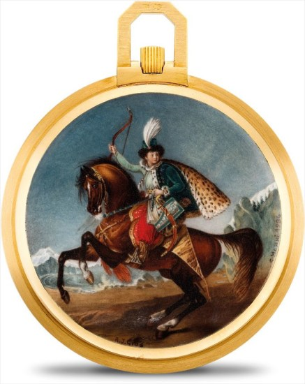 An exceptional and unique yellow gold openface watch with enamel miniature painted by G.Menni after a painting by Jean Antoine Gros with original certificate and fitted presentation box