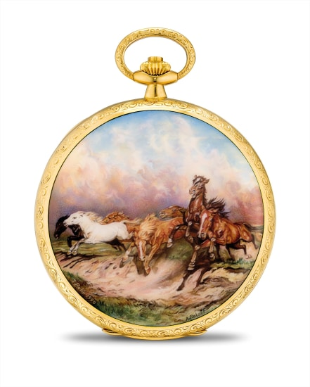 An exceptional and unique yellow gold hunter case watch with enamel miniature painted by Suzanne Rohr after a painting by Alfred Roloff with original certificate and fitted presentation box