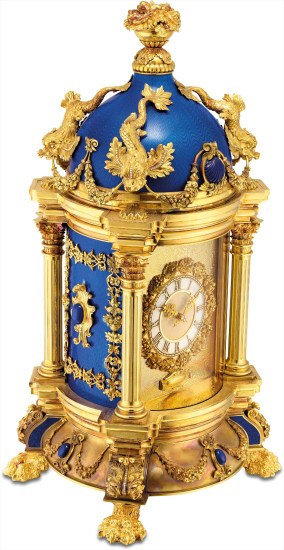 A magnificent, impressive and unique yellow gold, silver, diamond, lapis lazuli and translucent royal blue enamel museum quality baroque style dome clock with mother-of-pearl dial and original fitted presentation box