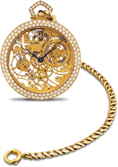 A very fine and rare yellow gold and diamond-set skeletonised openface watch