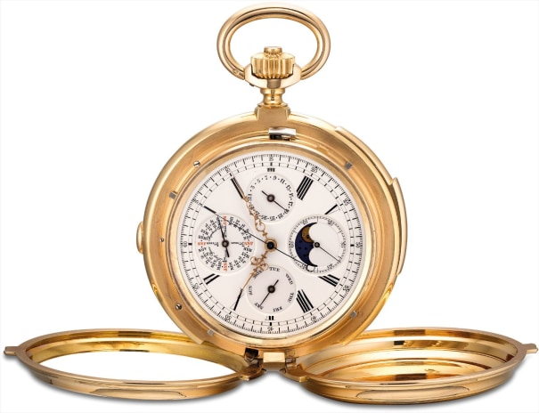 A fine, unusual, heavy and extremely rare pink gold minute repeating perpetual calendar chronograph watch with leap year indicator, moon phases and Cabriolet case