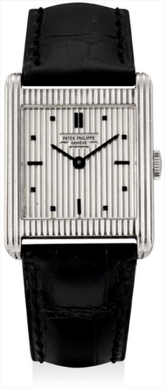 A rare white gold square wristwatch