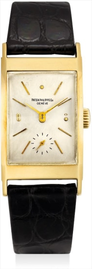 A fine yellow gold rectangular-shaped wristwatch