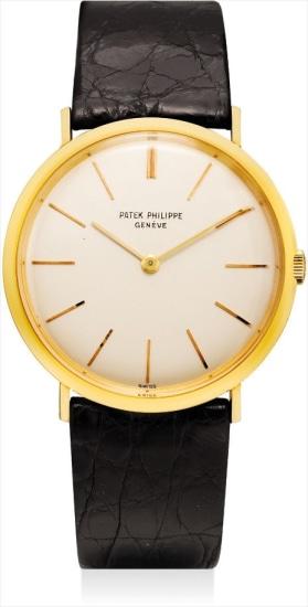 A fine yellow gold ultra-thin wristwatch