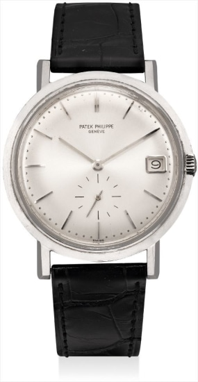 A fine and very rare white gold wristwatch with date
