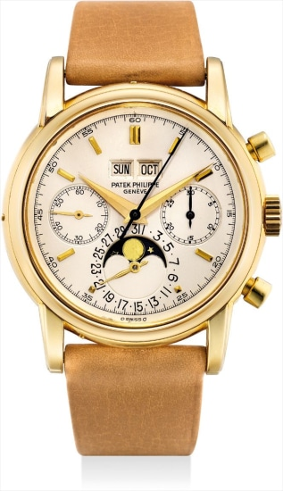 An extremely fine and rare yellow gold perpetual calendar chronograph wristwatch with moon phases and original certificate