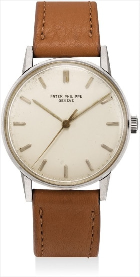 A very rare white gold wristwatch with sweep centre seconds