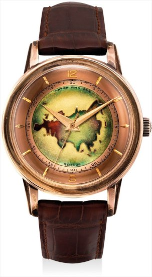 An extremely rare and historically important pink gold wristwatch with cloisonné enamel dial depicitng the map of Eurasia