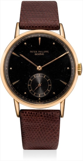 A rare pink gold wristwatch with black lacquer dial