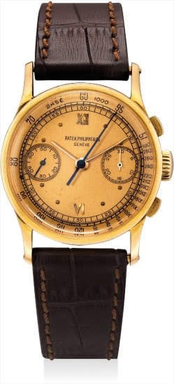 A fine and very rare pink gold chronograph wristwatch with pink dial
