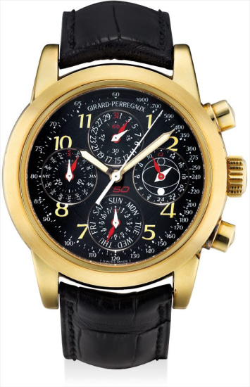 A yellow gold limited edition perpetual calendar chronograph wristwatch with moon phases, 24 hours and day, made to commemorate the 50th anniversary of Ferrari