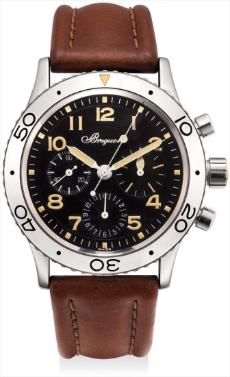 A stainless steel flyback chronograph wristwatch