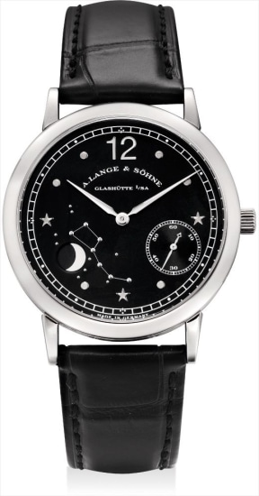 A very fine and rare platinum limited edition astronomical wristwatch, made to commemorate the 150th anniversary of Emil Lange's birth